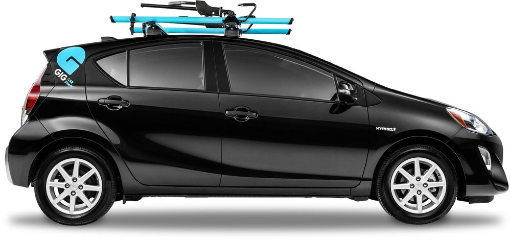 It turns out that a year later a car share company, GIG, started in the East Bay of the San Francisco Bay Area. No bike riding employees, but they have bike racks on every car in their fleet.