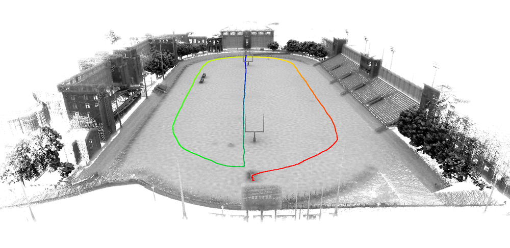 University stadium model captured with Stencil with a several minute walk around the football field and then down the middle of the field. No registration issues and works very well in an open area.