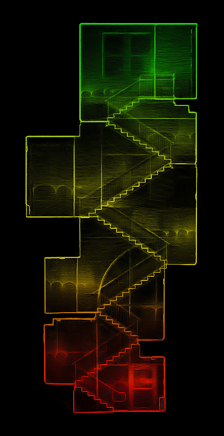 Stairways, termed a degraded environment due to narrow spaces, upward movement, feature-less walls and constant turning, are very difficult to do with traditional lidar or SLAM. This scan done with  Contour  provides a clear and accurate scan without any post-processing.