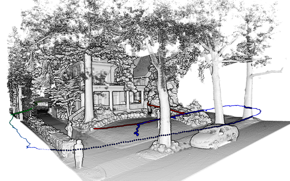 Residence scanned with  Stencil  in a few minutes by walking around front yard. Path shown in dotted line.