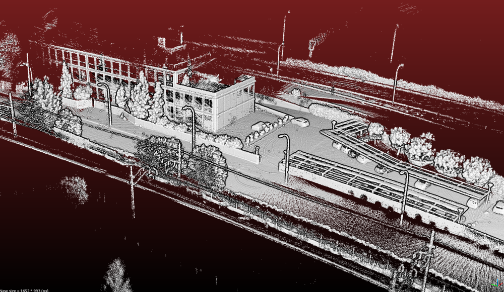 Based on data from a handheld Velodyne HDL-32E courtesy of Track Surveying Solutions Sample HDL-32E point cloud file