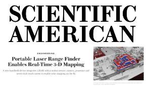 Scientific American    Portable Laser Range Finder Enables Real-Time 3-D Mapping