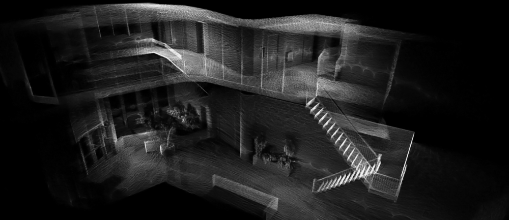 INTERACTIVE VISUALIZATION  of office space using  point cloud  created with  Contour . This visualization uses Uber's  deck.gl  open source framework.