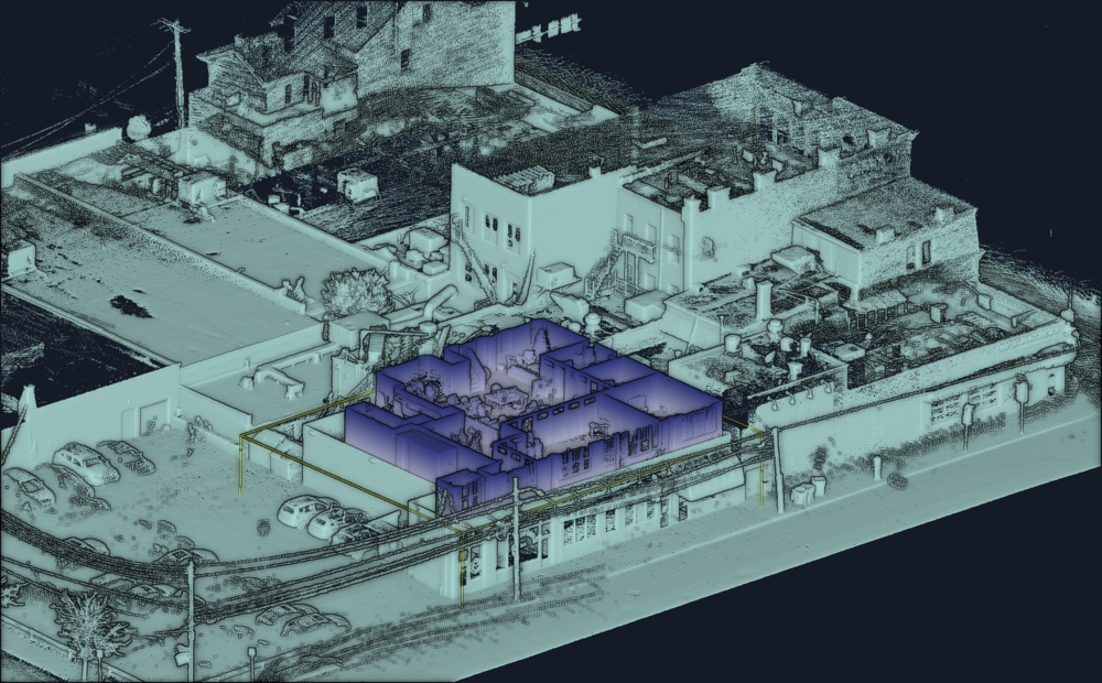 CASE STUDY:Two separate scans of a office complex set in the context of a city block with mixed retail, parking, restaurants and busy thoroughfare. Interior scan by Contour in 20 min.Exterior scanned with Stencilin under 30 minutes, included roof access and no aerial to provide complete cut-away. Very useful for zoning studies. Visualization shows office area color-coded by elevation. Gray area provides context.