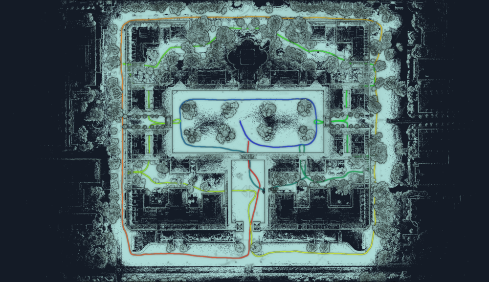 Path of scan of Stanford Quad.