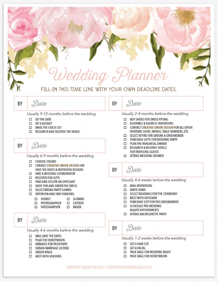 Creative Union  Wedding Planner Checklist