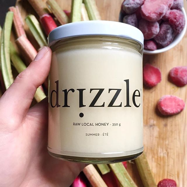 I received some of this @drizzle_honey as a sweet wedding gift from a friend. And it's delish! 😋 It'll be perfect to sweeten some rhubarb and strawberries! Maybe I'll make some chia jam? 🤔 Or just eat it with a spoon. 😉 #drizzlehoney #honey #raw #local #yyc #summer #rhubarb #strawberries #chiajam #fresh #blushedteacup