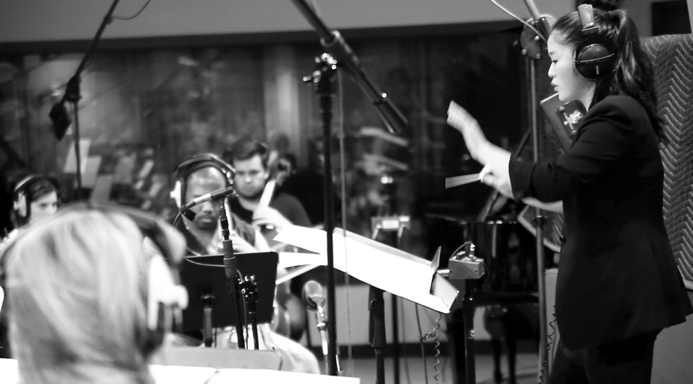 Shirley Song composer conducting orchestral session