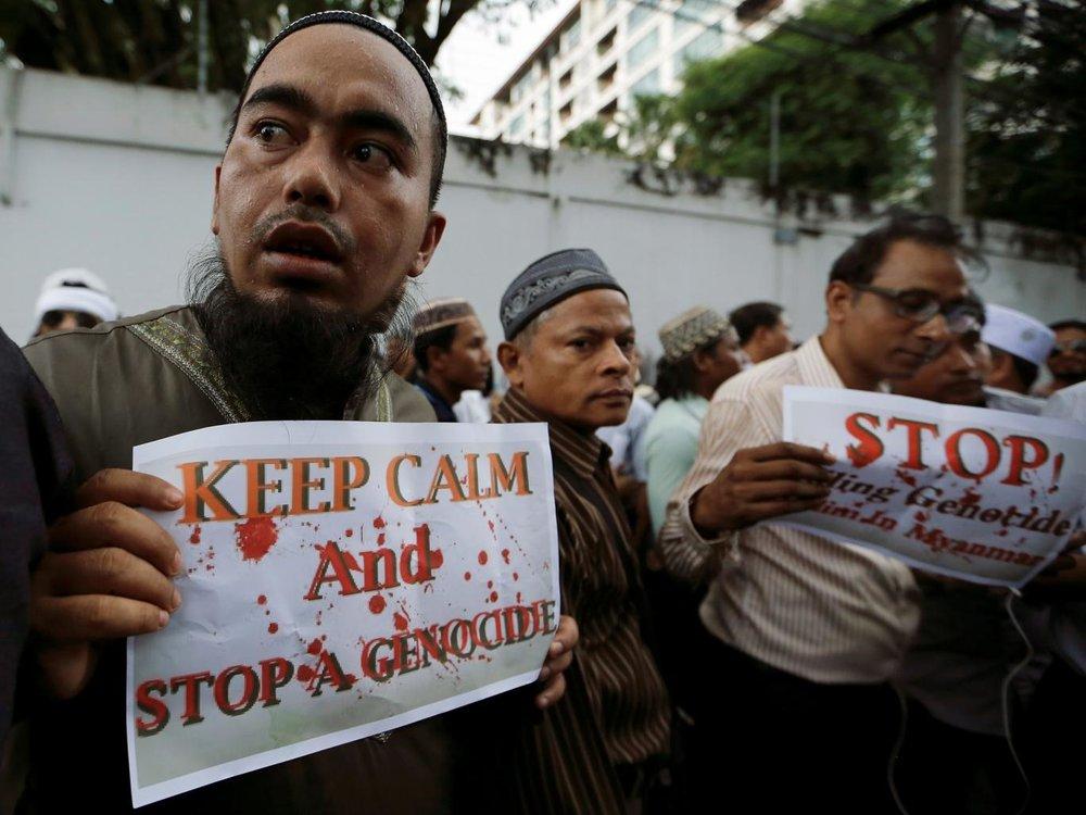 Protests over the Rohingya crisis in Myanmar. ||Jorge Silva, Reuters.
