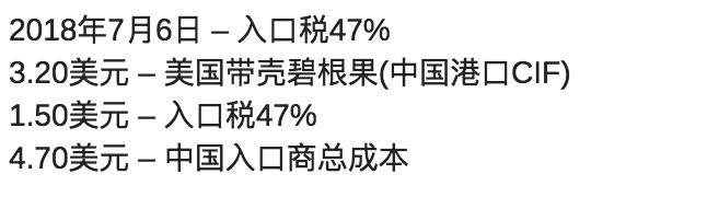 3.20美元 – 美国带壳碧根果(中国港口CIF)