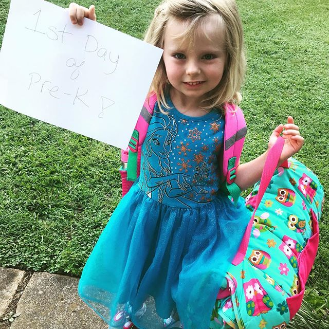 I can't wait to watch this one grow up. Even though I wish she would stay little 💜 #firstdayofschool