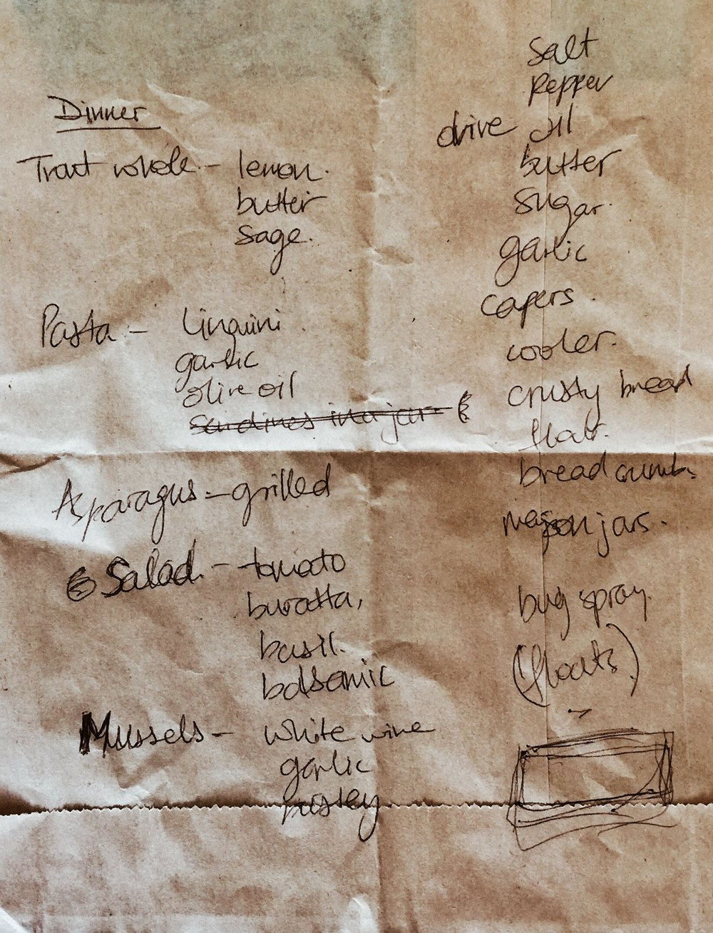 Brainstorm Session  - Call me old-school but before i plan out an elaborate meal, I like to jot down my thoughts on a piece of paper first. A week prior to the trip, Anna and I got together at a coffee shop and began brain-storming ideas on the back of a brown paper bag while Alexa was on the phone. This was only the beginnings of the feast to come.