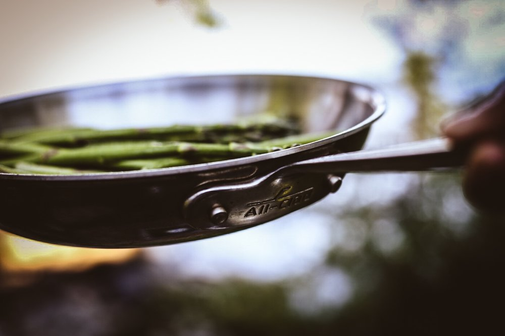 Sautéing Asparagus in All-Clad 10 inch Frying Pan  (Photo captured by  @ajfernando )