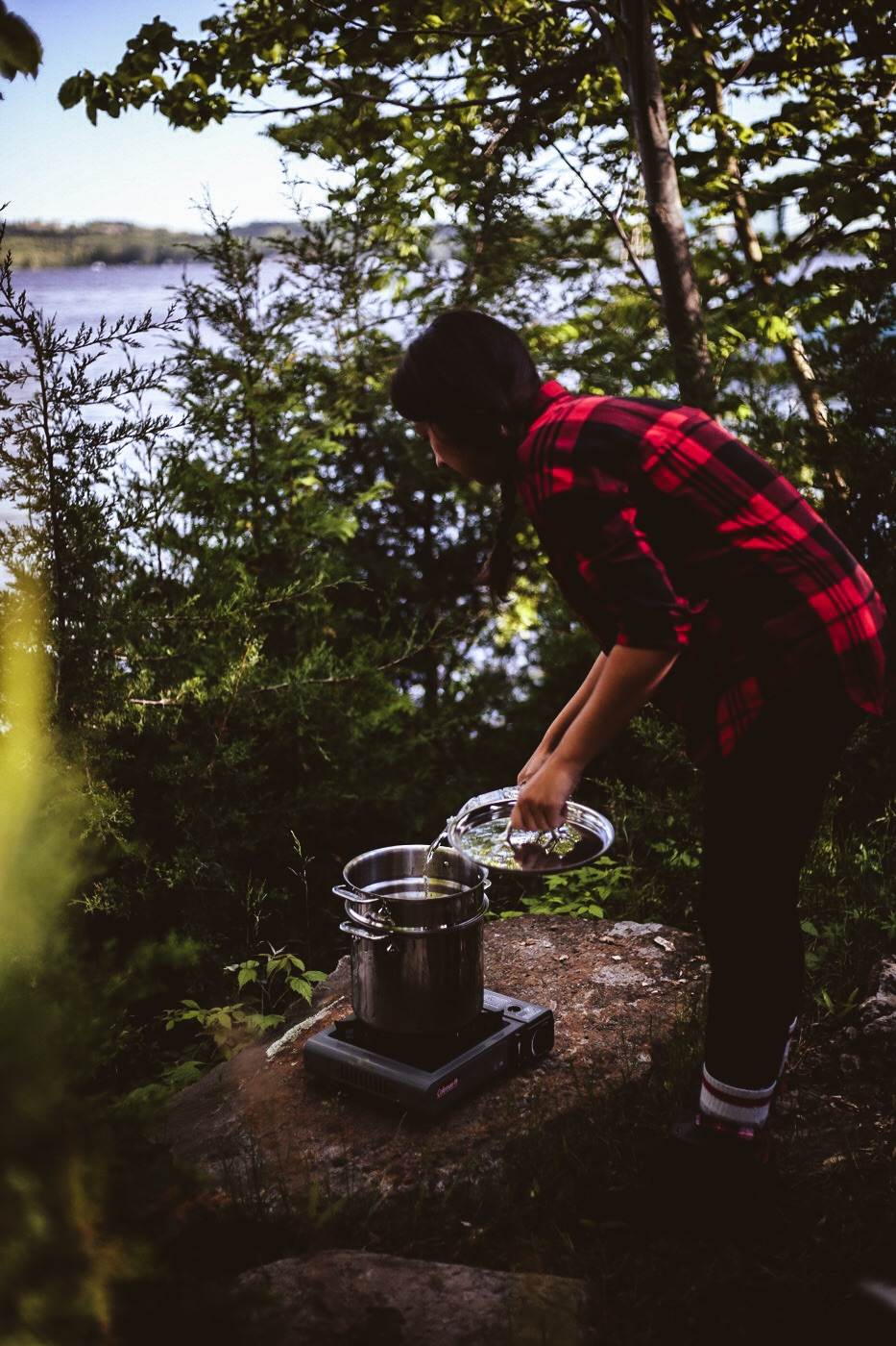 Anna boiling water for pasta in our All-Clad Perforated Multi-pot with Steamer Basket (Photo captured by  @ajfernando )