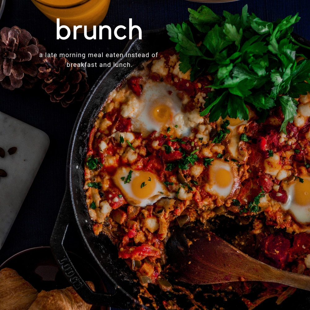 in the kitchen: spicy chicken shakshuka + maple glazed breakfast sausages. - this one-skillet dish with poached eggs accompanied with breakfast sausages and a few sides is all you need for a quick, easy and hearty brunch at home with friends, family or loved ones.