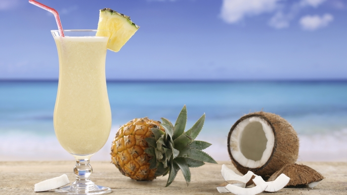 Our twist on a Pina Colada! Take it to the beach! Or drink it at home!