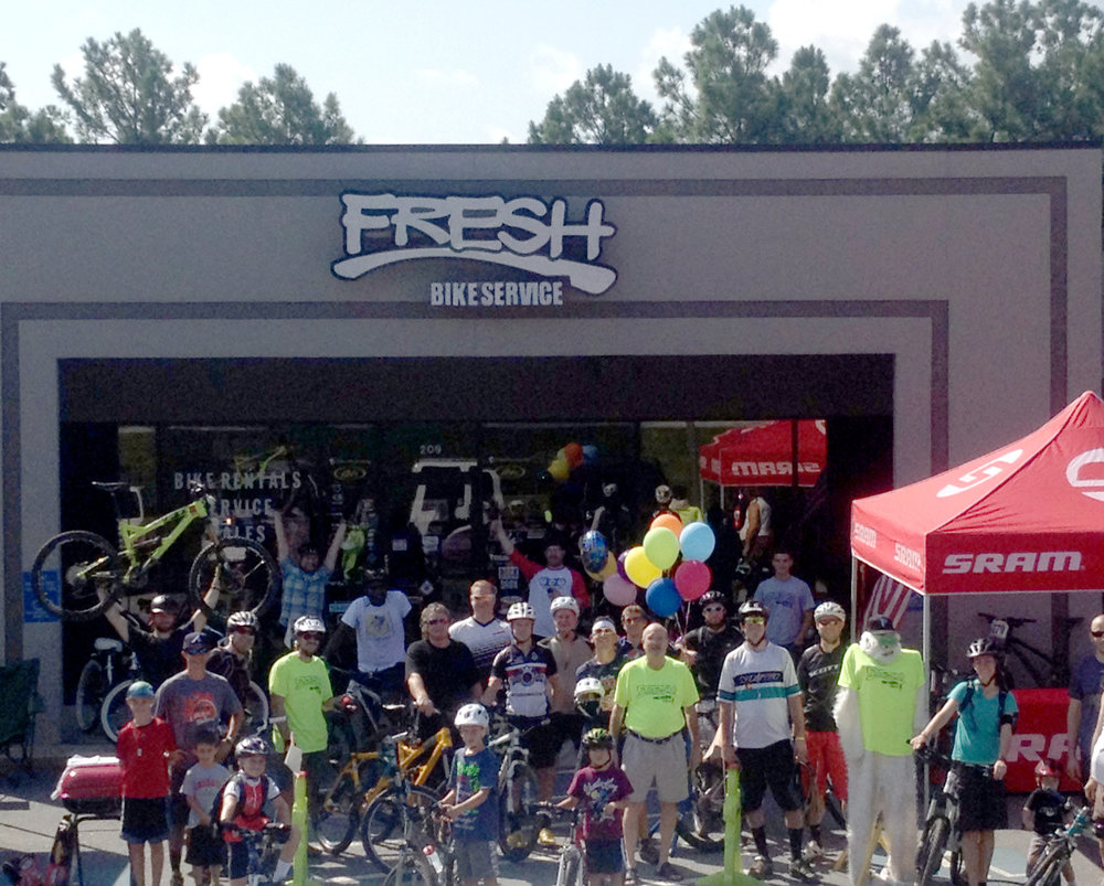 Fresh Bikes operated as a mobile business until 2011 when we opened our brick and mortar location next to Big Creek Park and Mountain Bike Trails. - We love our location! It gives Fresh Bikes the unmatched ability to host group rides, allow for customer demos and rent bikes for exploring the greenway and trails.