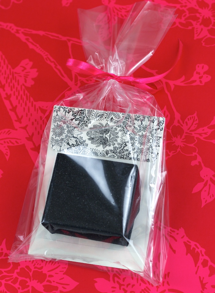 Small gift and card in cellophane bag