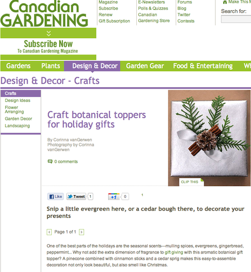 Botanical Topper Craft by Corinna vanGerwen on CanadianGardening.com
