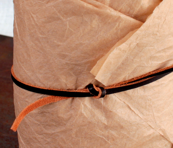 Bourbon in Tissue with Leather Tie, Detail