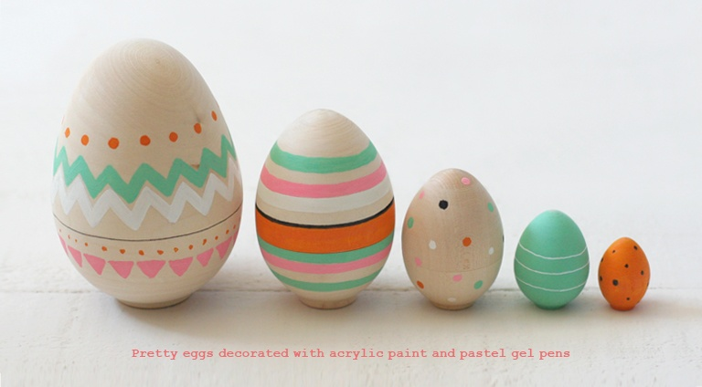 Painted Wooden Nesting Eggs from Blank