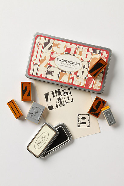 Vintage-style Number Stamps from Anthropologie