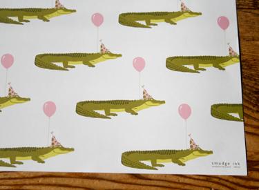 Alligators gift wrap, Smudge Ink
