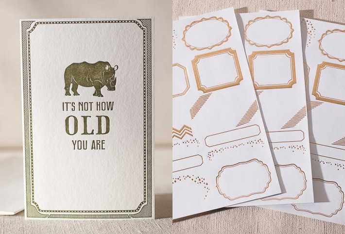 Not How Old letterpress card and gold gift labels from Smock