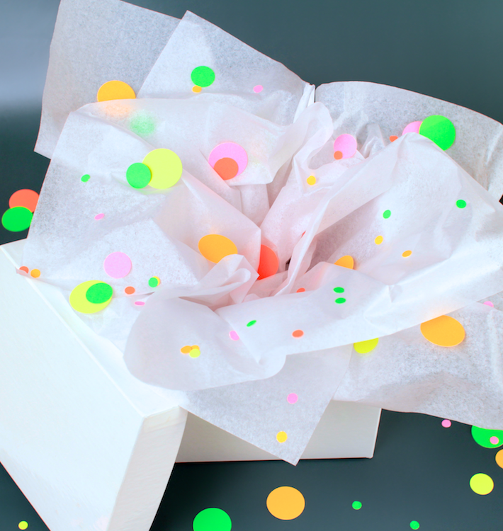Neon Wrap: Confetti inside the box
