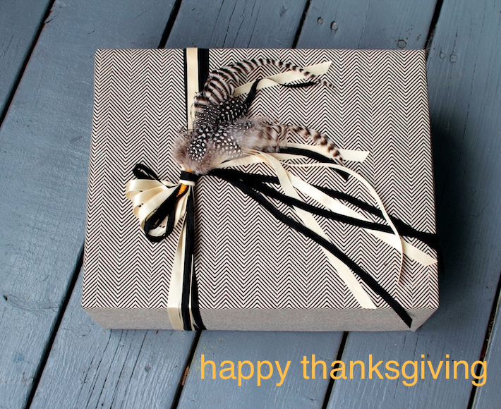 feather and herringbone gift wrap