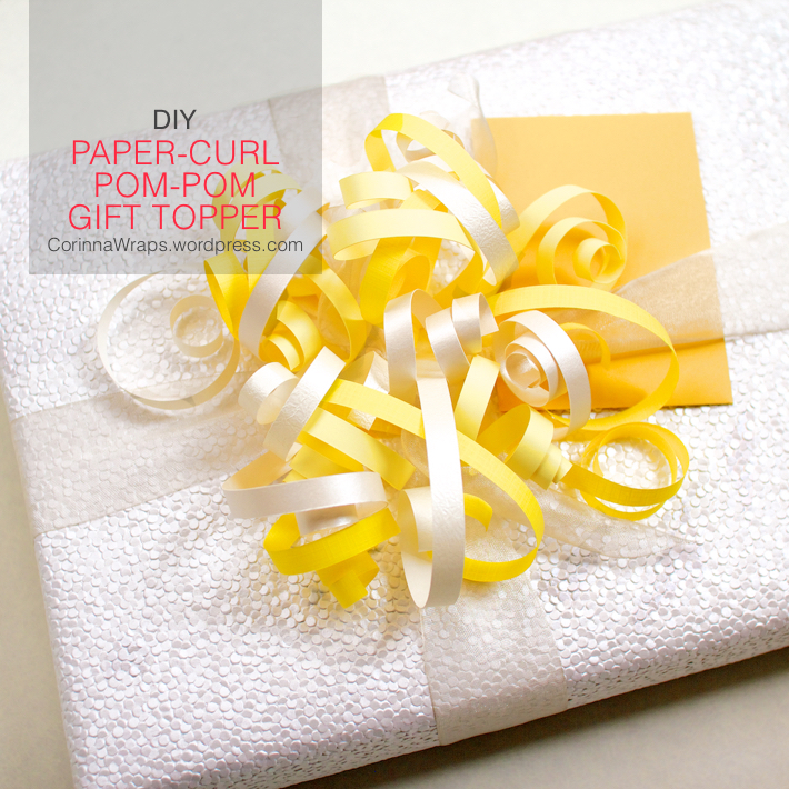 wedding shower gift wrapping diy paper curl pom pom gift topper