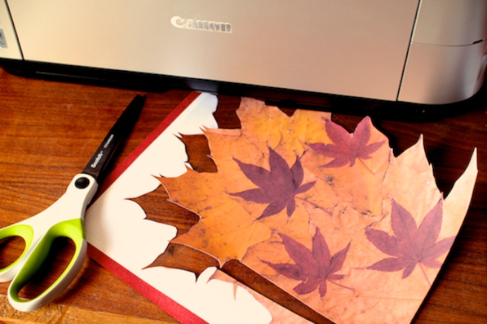 DIY Fall Leaves Paper Cone | CorinnaWraps.wordpress.com | A great way to serve treats for Thanksgiving or at a fall table