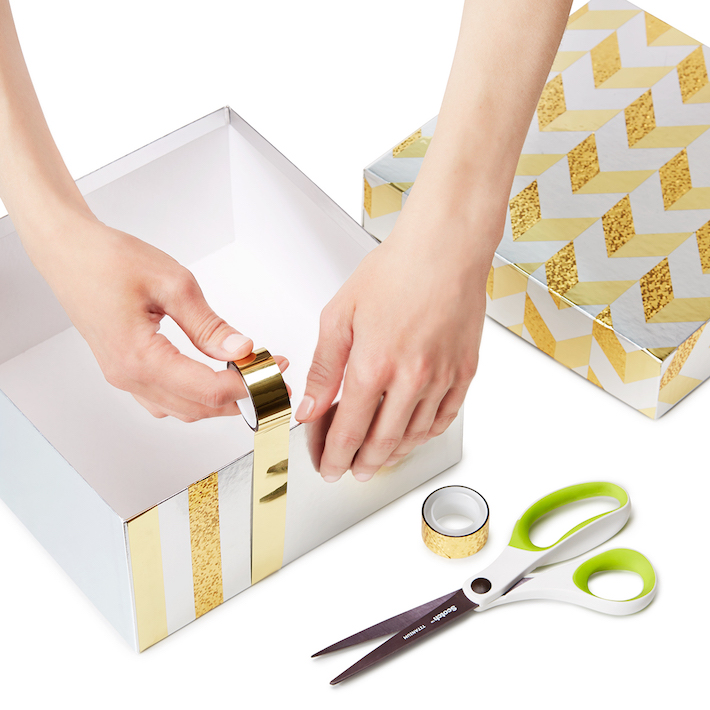 DIY Gift Box Makeover using metallic tape | CorinnaWraps.wordpress.com