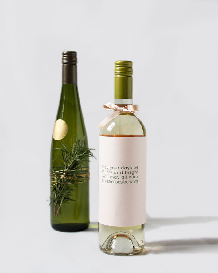 Rosemary wine-bottle decoration and holiday wine bottle sleeve | CorinnaWraps.wordpress.com