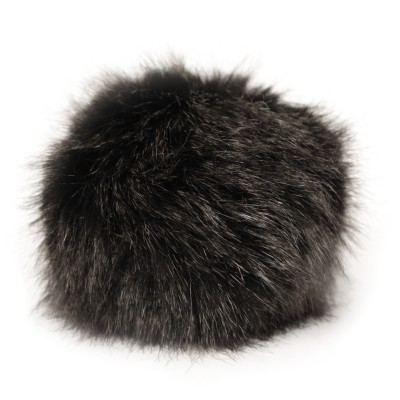 Faux Fur Pompom in Black Mink