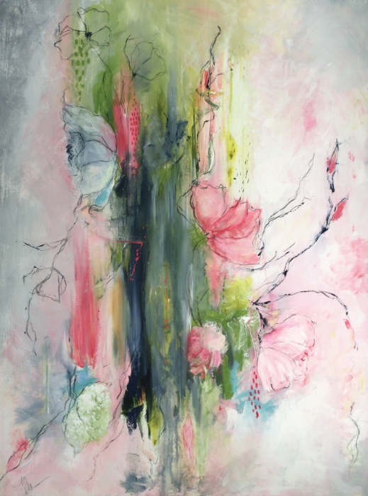GARDEN PARTY - ACRYLIC, PASTEL, CHARCOAL AND OIL ON Canvas. 30x48 $895 -  SOLD