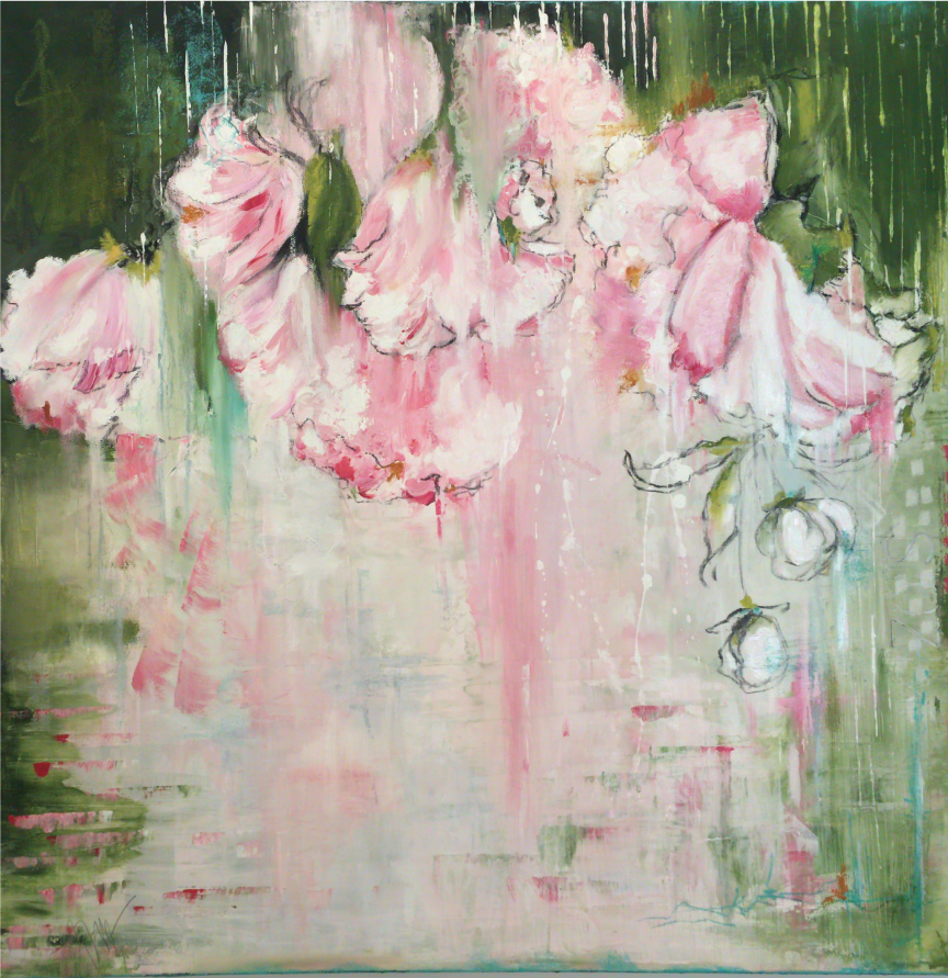 peonies off the patio- Acrylic, pastel and oil on canvas. 24x24 $895 - sold