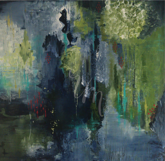 Midnight in the garden - acrylic, pastel and oil on canvas. 30x30 $985 - sold