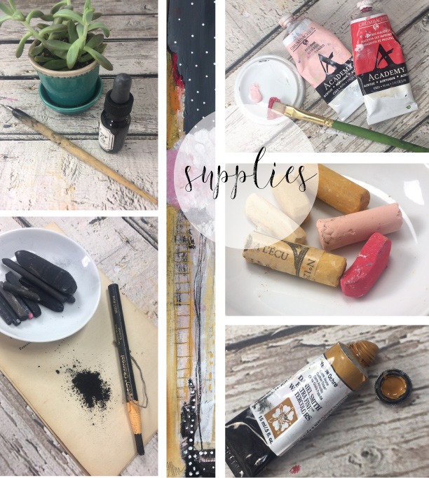 Above are the supplies that I used in making of the mix media piece, Crepe Mrytle: Ink, watercolors, acrylics, charcoal, pastels and white gesso. I can't live without gesso!