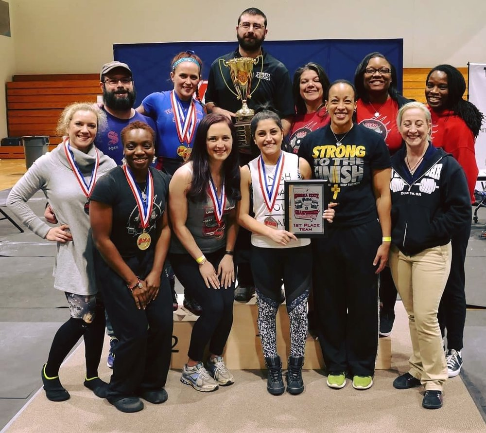 My powerlifting team consisting of mostly women took home the first place team Georgia state championship title!