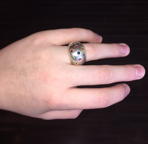 Sterling silver dome ring with natural assorted sapphires. $660