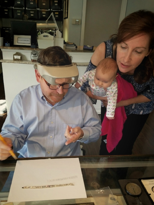 Joe selecting stones for the bracelet, with the help of his lovely assistants.
