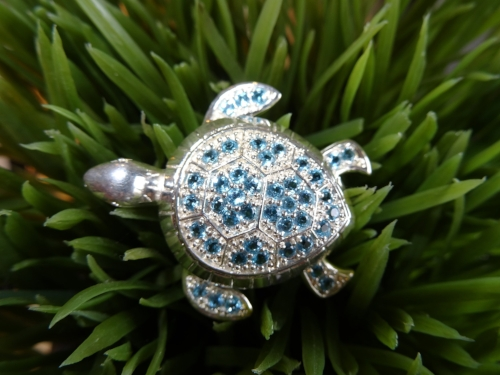 Blue Topaz and Sterling Silver Turtle Pin. $200