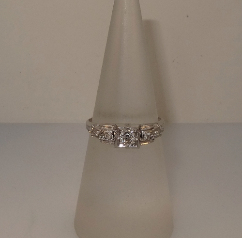 Vintage, Art Deco 18k white gold filigree diamond ring. Size 6.25. (Sizable). $675.