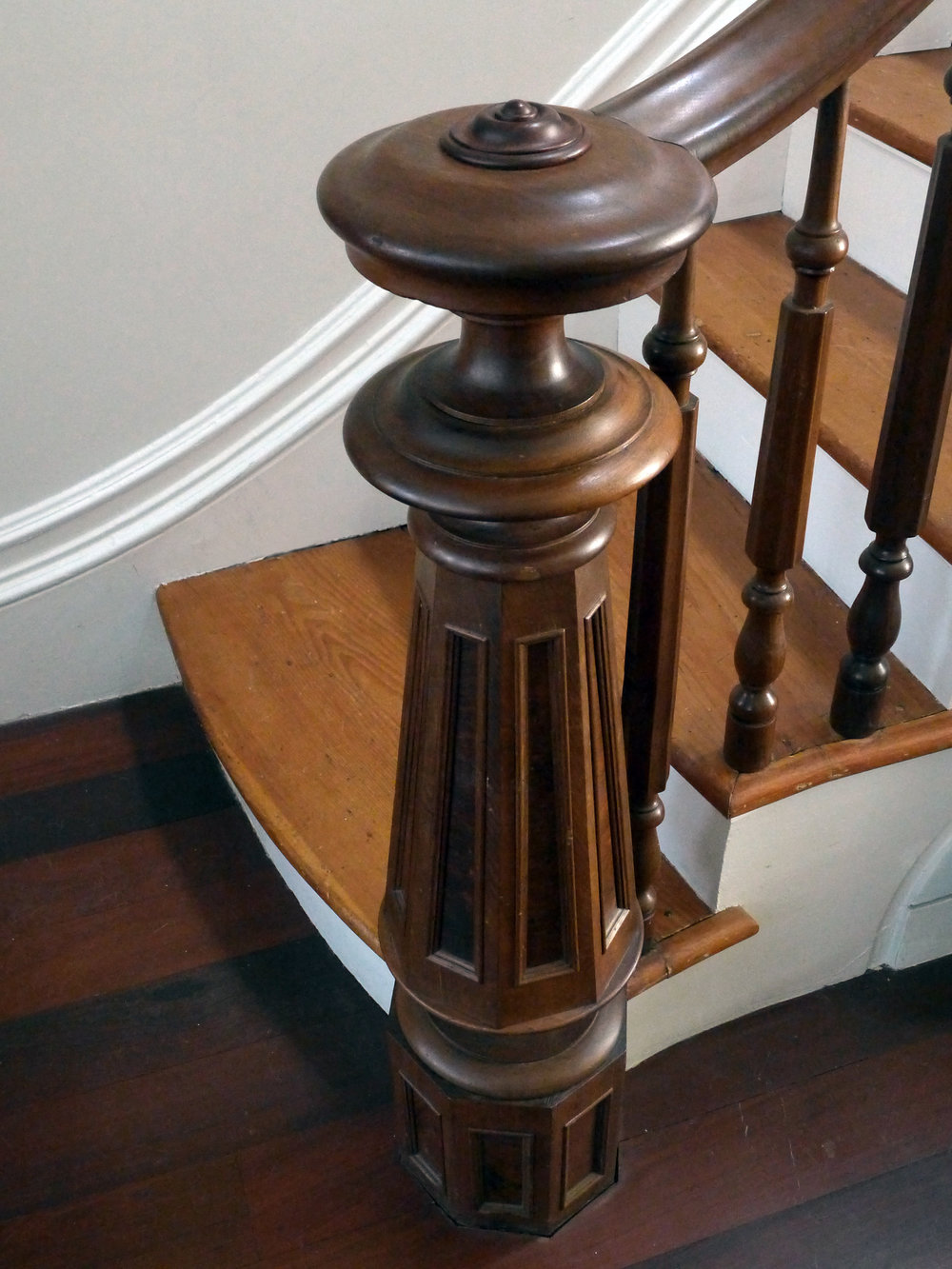 Restored Stair, Post and Railing.