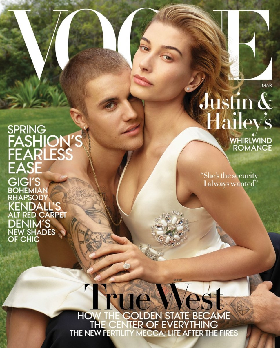 Justin Bieber and Wife, Hailey Bieber on the March Vogue Cover