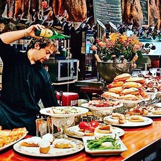 It's not all just about Running with Bulls. Enjoy plenty of Spanish delights during the San Fermin Festival.  #tapas #tasty #spanishfood #vacation #food #foodtour