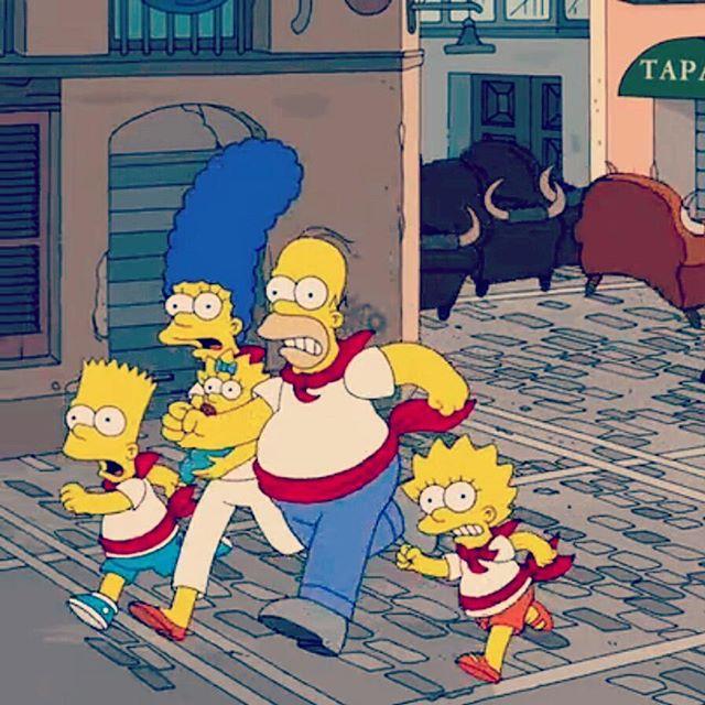This is Running with the Bulls, Simpson style!  www.runningwiththebullsinsidertours.com 🐃 #runningofthebulls #runningwiththebulls #simpsons  #pamplona #funtimes #sanfermin #ontour #festivalinsidertours