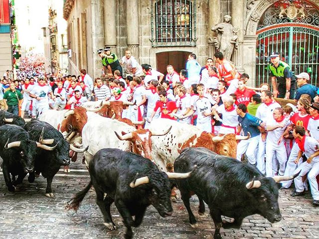 This is how it's done in Spain! 🐃 Packages available NOW for Running with the Bulls 2017. www.runningwiththebullsinsidertours.com  #runningofthebulls #runningwiththebulls  #sanfermin #bucketlist #crazytimes #fun