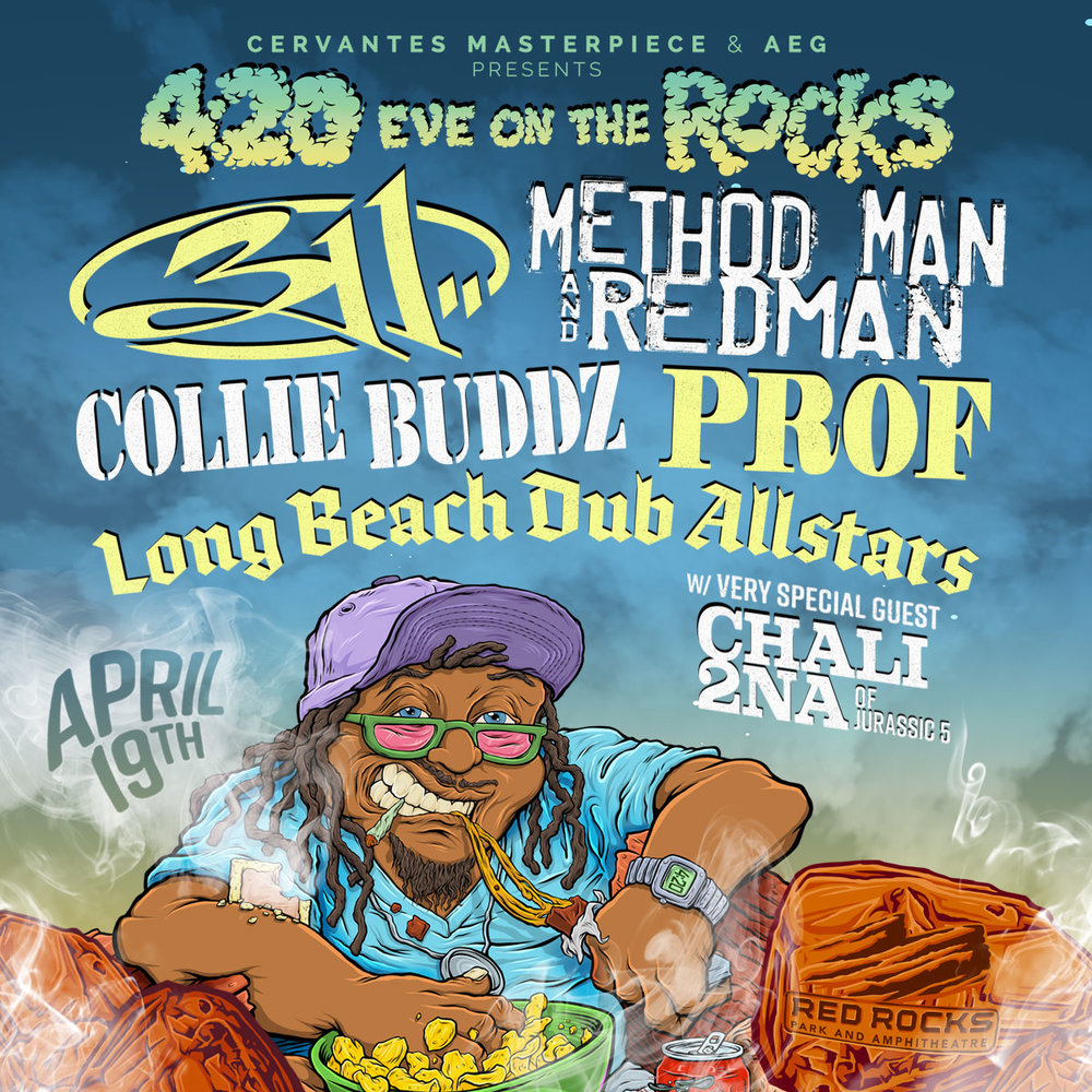 COLORADO!! I'm coming back to Red Rocks on 4/19 for 420 Eve on the Rocks with 311, Method Man & Redman, Prof, Long Beach Dub Allstars, and Chali 2na! Tickets available this Friday HERE